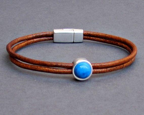 Gemstone Mens Leather Bracelet Dainty Bracelet Silver by GUSFREE