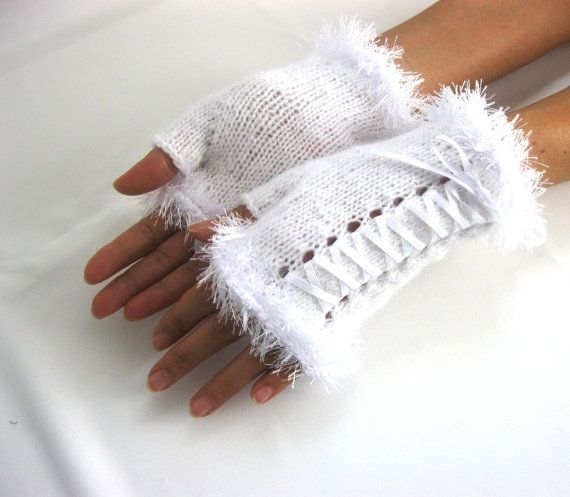 Little White  Mohair Fingerless Gloves by Rumina on Etsy
