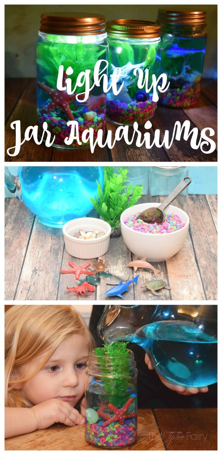 Make a Light Up Mason Jar Aquarium! Fun kids craft idea!                                                                                                                                                      More