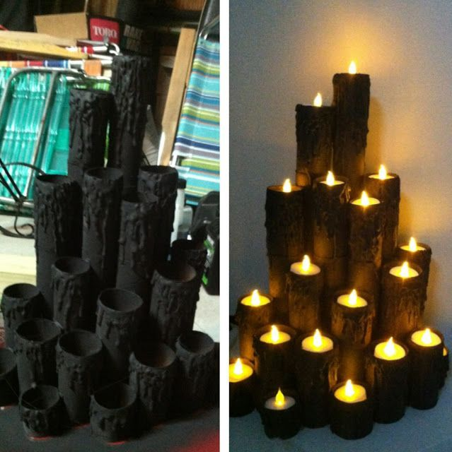 Made from paper towel tubes, card board, then paint and add candles