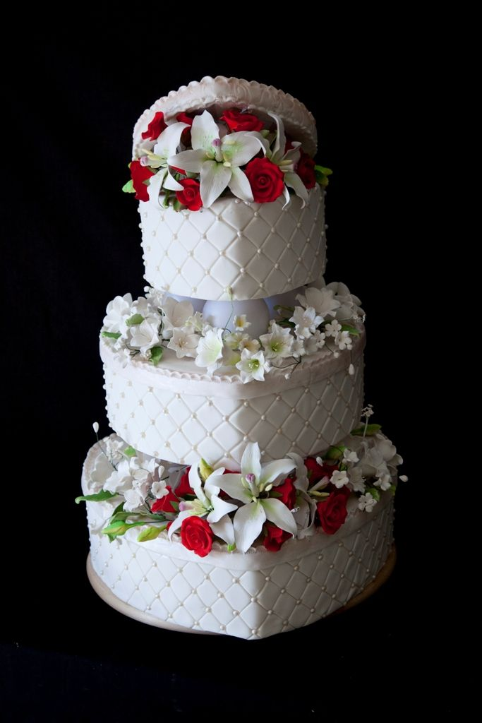 Heart shape boxes 3 tier white wedding cake with edible pearls red roses and & 8 best Valentines Day Wedding Cakes by The Cake Zone images on ... Aboutintivar.Com