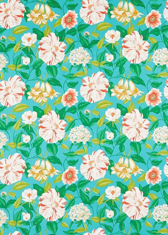 Tissu fleuri imprimé sur coton Floreanna, Sanderson.
