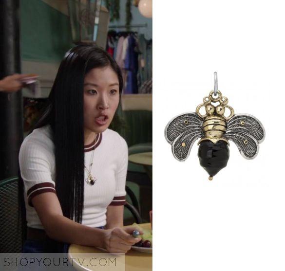 Faking It: Season 2 Episode 19 Leila's Black Bee Pendant Necklace