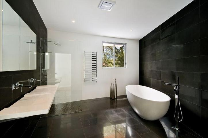 Black and white interior makes for a dramatic impact. Property from Riverview NSW 2066, Australia.