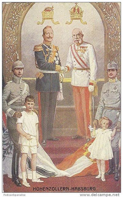 Verbündete im 1. Weltkrieg Habsburg und Hohenzollern (Allies at in The First World War--the Dynasties of Hohenzollern and Habsburg); at right middle is Archduke Carl of Austria (future Emperor) and Archduke Otto (future Crown Prince). Likely ca. 1914