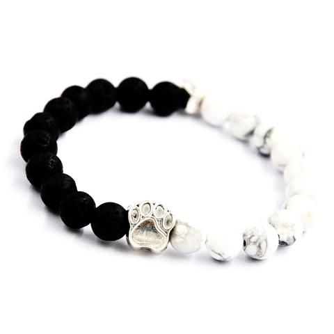 LIMITED EDITION. Pug Paw Unisex Bracelet With Lava Beads Stone