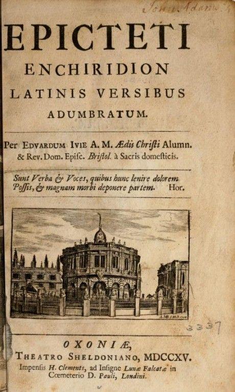Epicteti Enchiridion Latinis versibus adumbratum (Oxford, 1715) | The Core Curriculum
