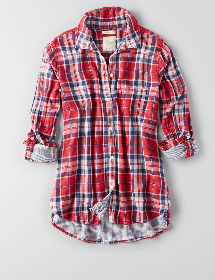 AEO Plaid Boyfriend Shirt , Red | American Eagle Outfitters