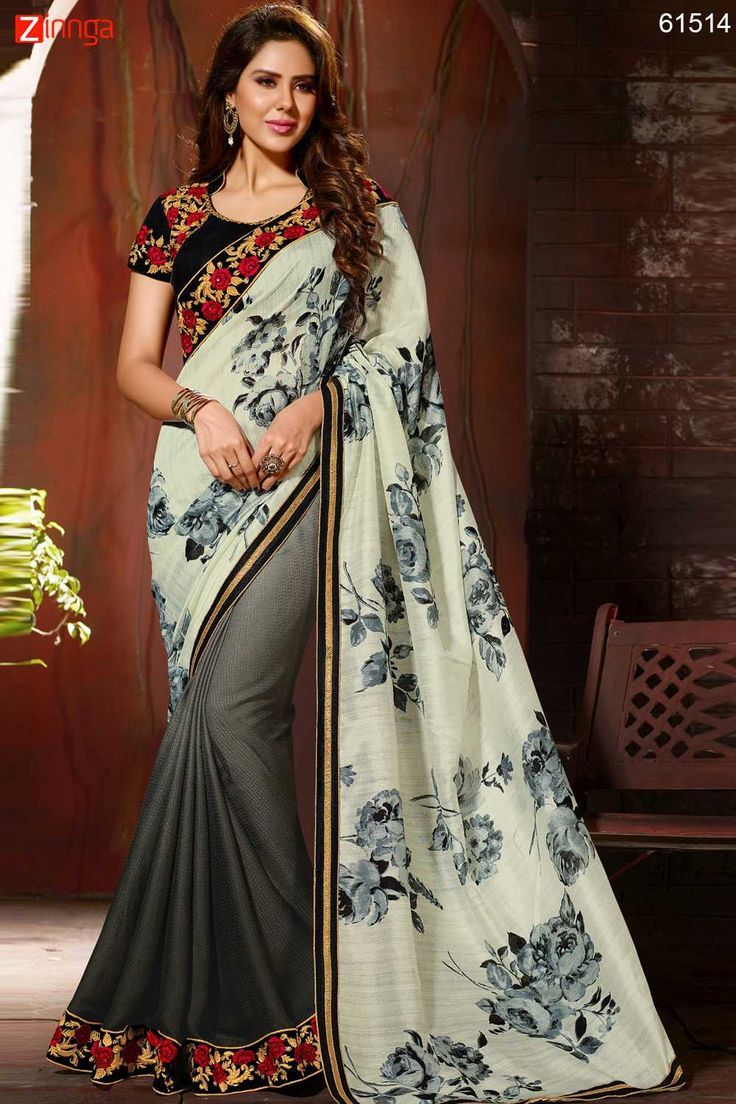 Wonderful Printed Pallu Saree in Pewter & Off White Color. Click here for more details www.zinnga.com