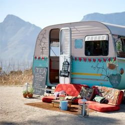 Incredible DIY job on a caravan turned into a mobile Tea Parlour. This is the bohemian dream!