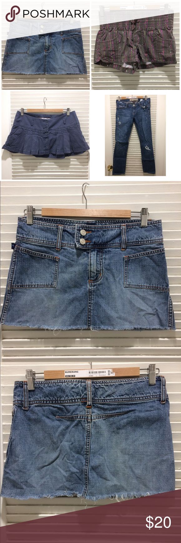 Lots of 4 bottoms 1 Hollister jeans, 1 Hollister skirt, 1 Ubfree shorts  and 1 Tyte jeans skirt. Hollister Skirts Mini