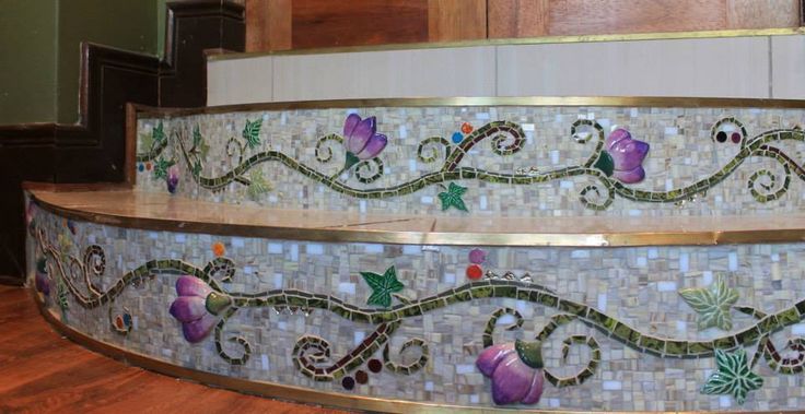 Stairs for a client - view one .... made with beautiful ceramic flowers and leaves