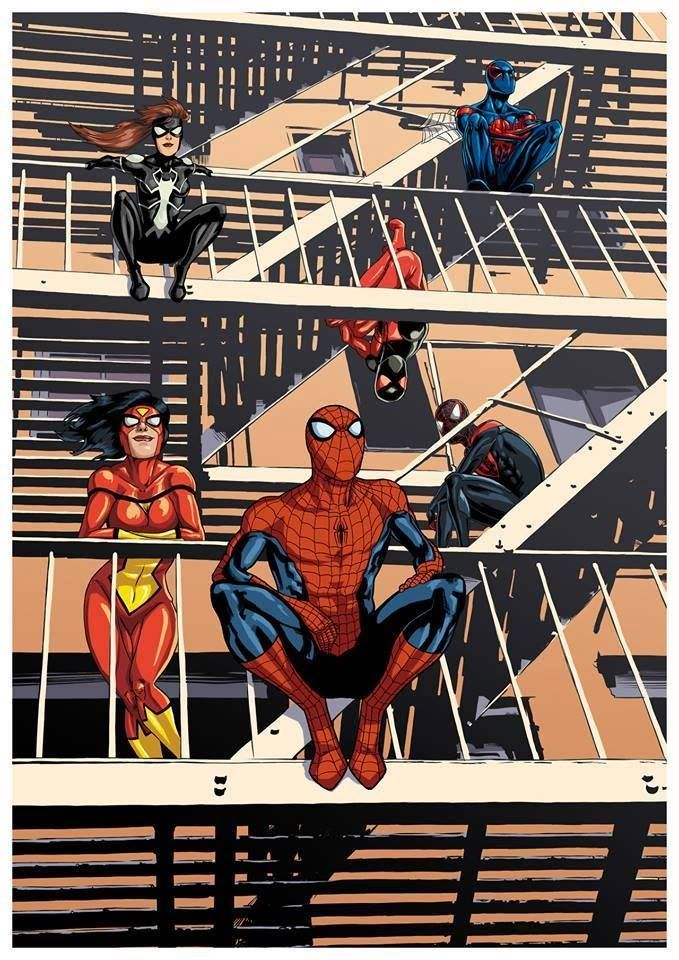 Spider-Men and Women - Spider-Woman, Arachne, Amazing Spider-Man, The Scarlet Spider, Ultimate Spider-Man, and Spider-Man 2099 by David Wynne