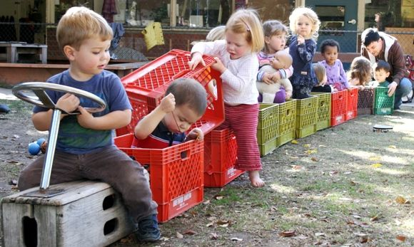 Activities that can be taken place indoors can also be explored outdoors with the children.