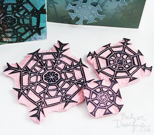 Balzer Designs carved snowflake stamps. I love this idea, but snowflakes only have six points. :)