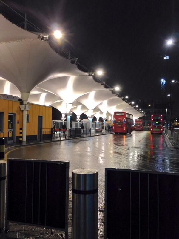 Bus station London with a tensile fabric canopy