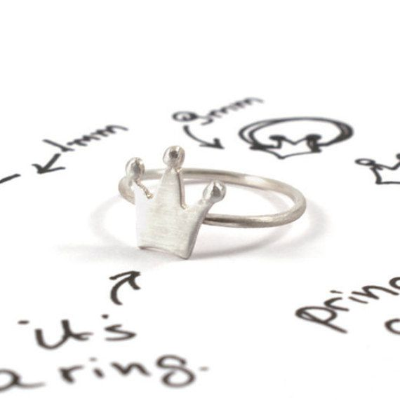 Crown ring corona ring tiara ring sterling silver gift for