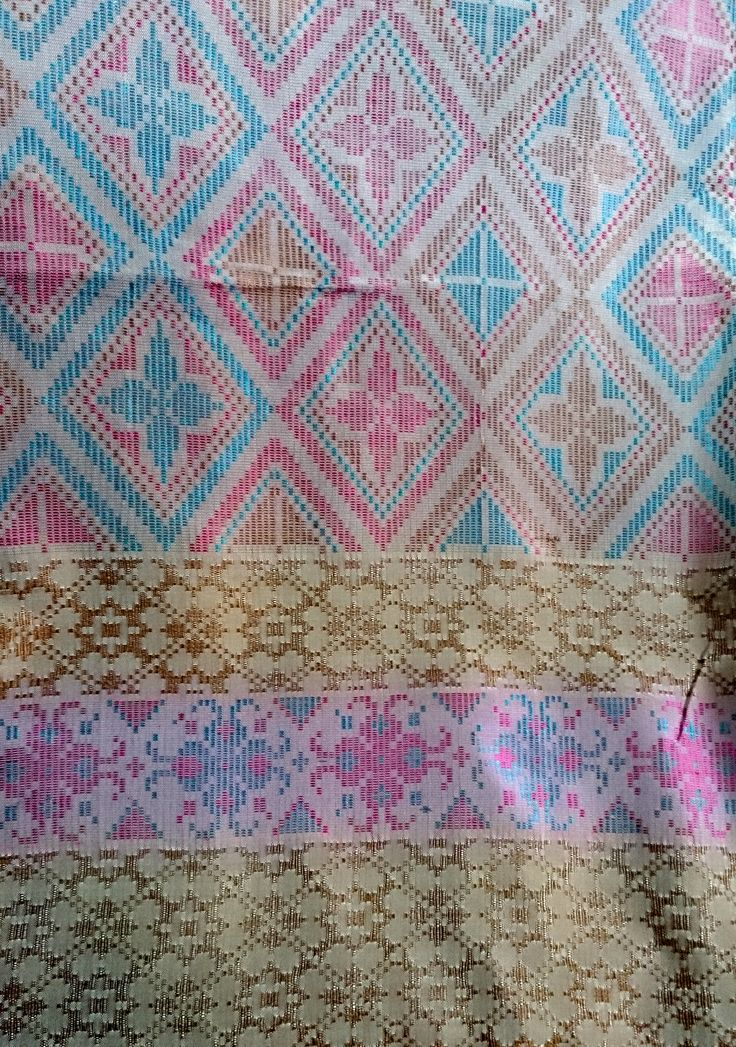 Handwoven Fabric Dusty Pink - Blue - Gold