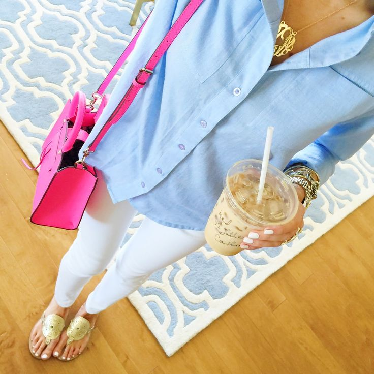 Southern Curls & Pearls: Soft Chambray Top + White Jeans + Gold Jack Rogers Sandals + Hot pink Rebecca Minkoff Bag