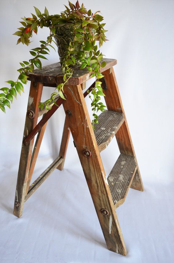 Vintage 1940 39 s small wood folding ladder shelf plant for Herb stand ideas