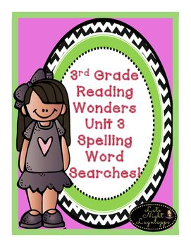 This includes spelling word searches for 3rd grade Reading Street Unit 3!Stories:*The Gardener*Pushing Up the Sky*Night Letters*A Symphony of Whales*Volcanoes: Nature's Incredible Fireworks*Unit 3 Spelling Word Search (with all words)This is a great and fun way for the students to review spelling words!