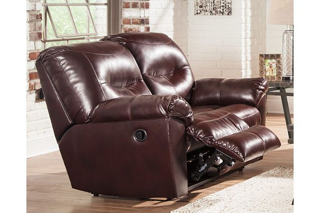 Sleek and attractive. The Kilzer DuraBlend® reclining loveseat isn't the average motion furniture. Jumbo stitching and plush cushions in all the right places make it sharp. The best part? You can kiss buyer's remorse goodbye because its faux leather design is going to save you a pretty penny.