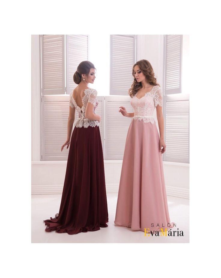 Dlhé spoločenské šaty s padavou šifónovou sukňou a krajkovaným živôtikom