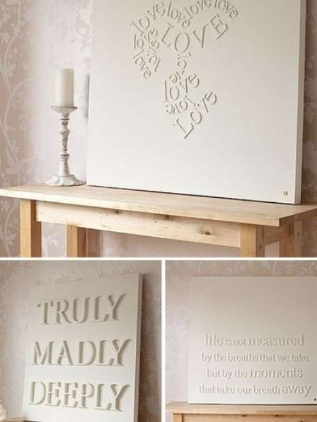Wooden letters on a canvas and spray