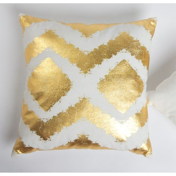 8 Oak Lane Canvas Geo Metallic Detail Pillow ($16) ❤ liked on Polyvore featuring home, home decor, throw pillows, metallic home decor, colored throw pillows, metallic throw pillows, canvas throw pillows and canvas home decor