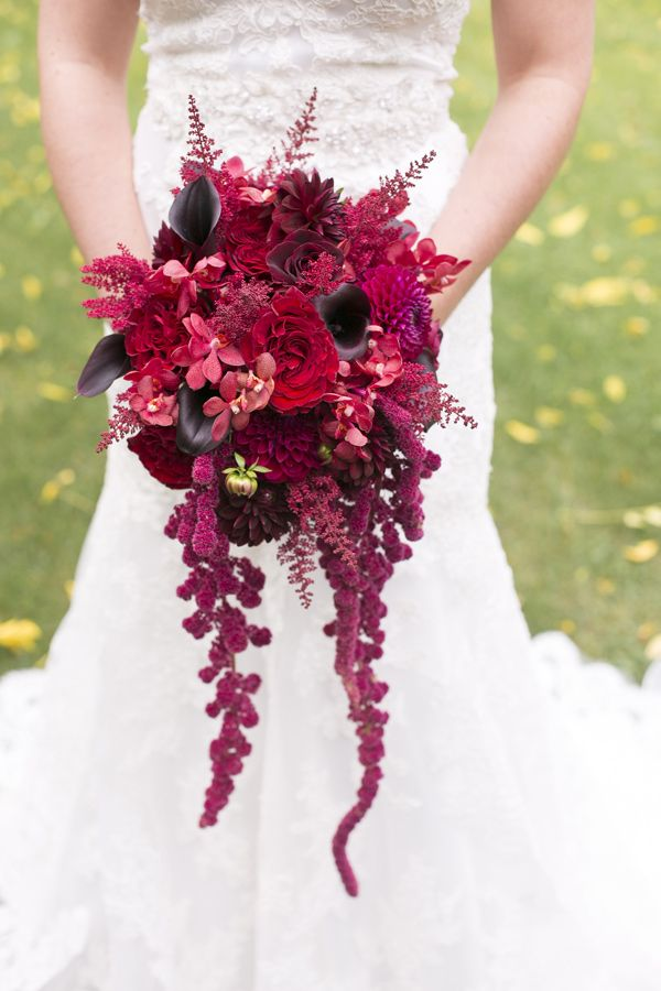 Gothic Victorian Styled Wedding - red bouquet // Photographer: Eva Derrick Photography / Event Planning and Design: Amanda Cowley Sweet Events / Florist: Lush Florals