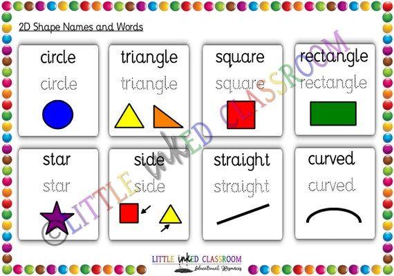 2d And 3d Shapes Shape Namesreceptionreusable Educational Etsy Math Worksheet Learning Shapes Shape Names