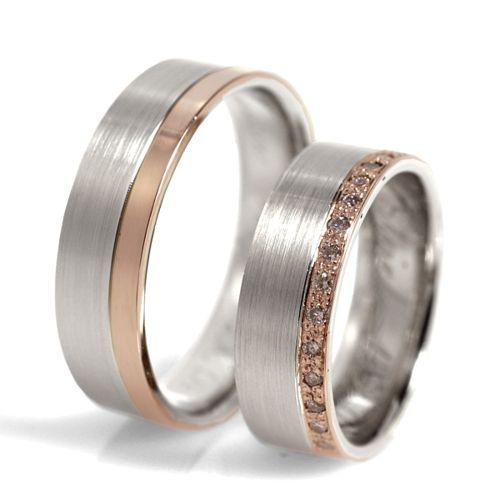Obrączki ślubne z białego i różowego złota z brylantami o łącznej masie 0,21 ct. Próba 0,585