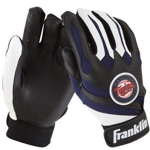 Minnesota Twins Team Youth Batting Gloves by Franklin. $18.95. TRI-CURVE construction. Reinforced finger tips. Vesta palm material. Seamless palm construction. Competitive grade spandex ,Officially licensed by MLB. Swing for the fences in these Minnesota Twins Team Youth Batting Gloves by Franklin! Developed exclusively for children in the beginning stages of game development, your little one will be ready for every pitch while sporting their favorite team logos ...