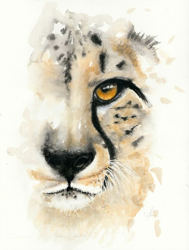Cheetah In The Mist In 2020 Watercolor Animals Cheetah Drawing