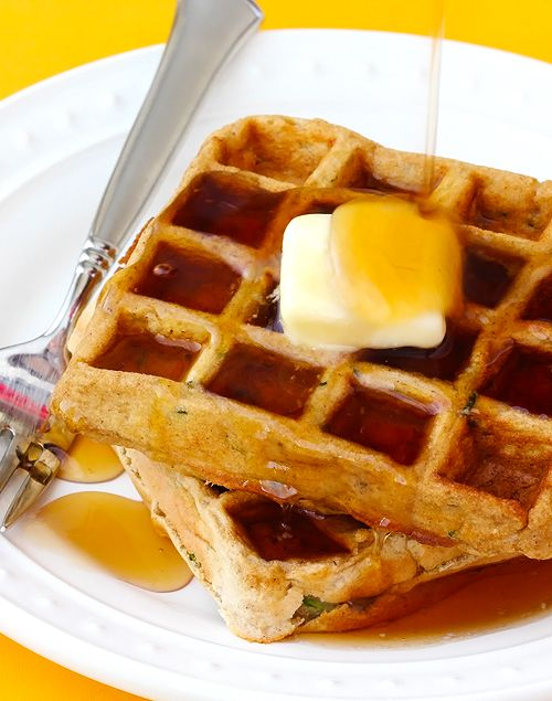 Sneak a little zucchini into your waffles -- they're delicious! | gimmesomeoven.com #breakfast