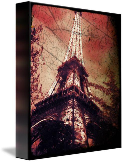 """Eiffel+TowerTinted+Red,+Distressed""+by+L+L+Stewart"