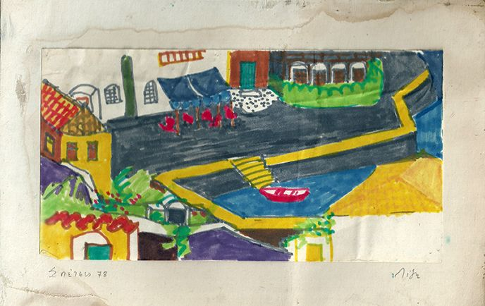 Lizzie Calligas- The Old Port- felt pen-1980