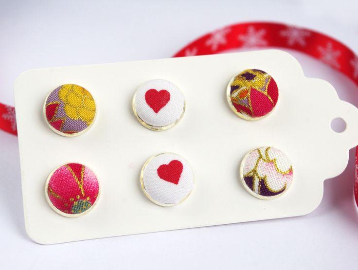 set de 3 puces clou d'oreilles en tissu japon coeur violet rouge cadeau noël ado : Boucles d'oreille par cocoflower