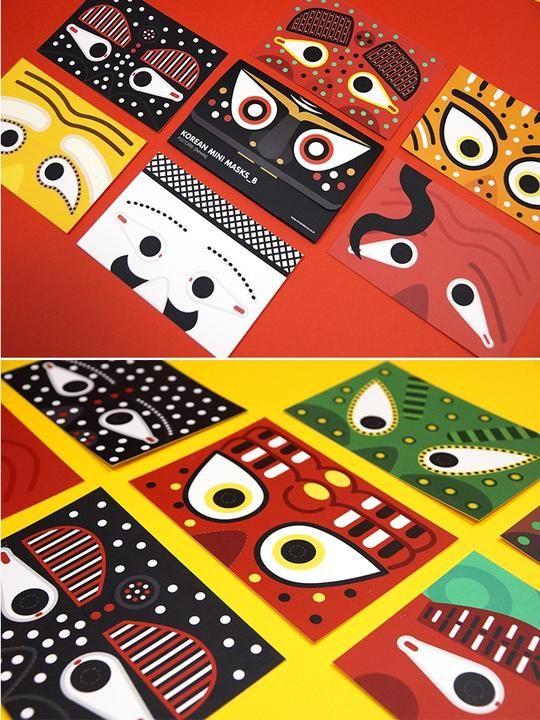 Korean Mask Post Card - B