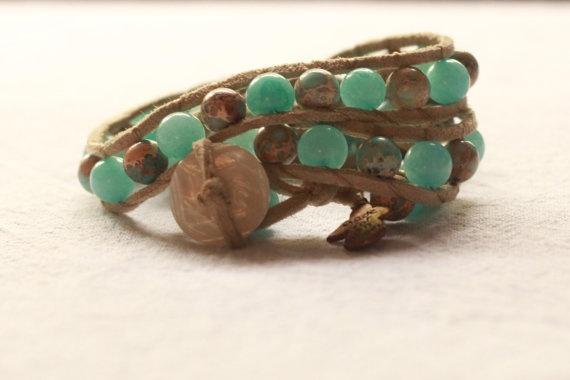 Blue triple wrap bracelet by TipToeTulipJewellery on Etsy, $60.00