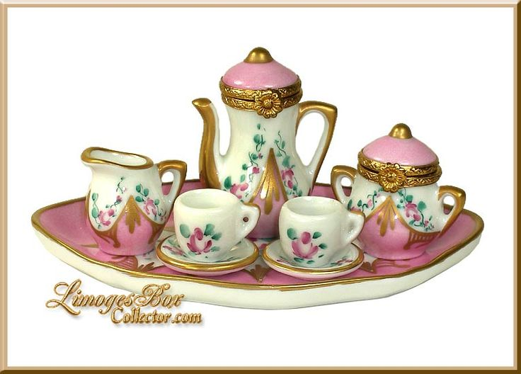 8 Piece Floral Pink Tea Limoges Trinket Box Set (Beauchamp)