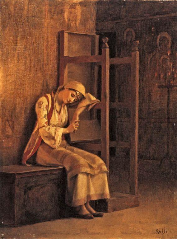 Ράλλης Θεόδωρος-Κοπέλα που ακουμπά σε στασίδι