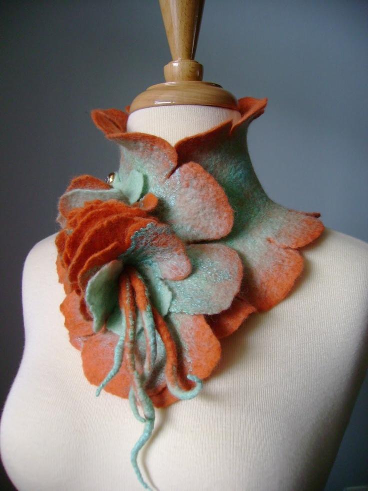 Neckpiece | Svitlana ~ VitalTemptation. Silk wool and crystal pin button.