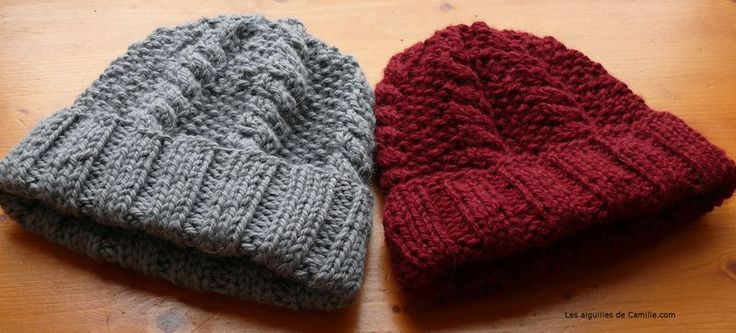 Un bonnet à tricoter au point de riz, avec une torsade: Swallowfield. Patron dispo en français et anglais