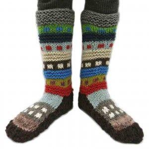 Sleeper Socks Wool Blends Multicolor Winter Knitted Warm Handmade Ethnic Socks