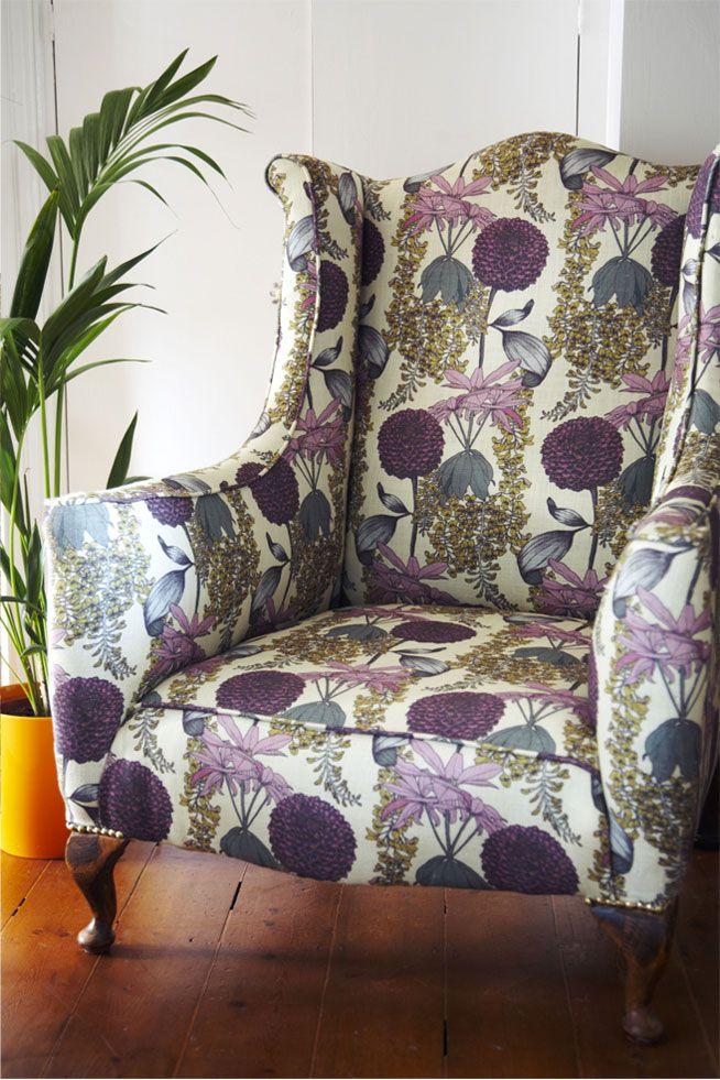 Laburnum Fabric (Raspberry) | Abigail Borg | Surface Pattern Designer & Floral Illustrator | Traditional Surface Pattern Design