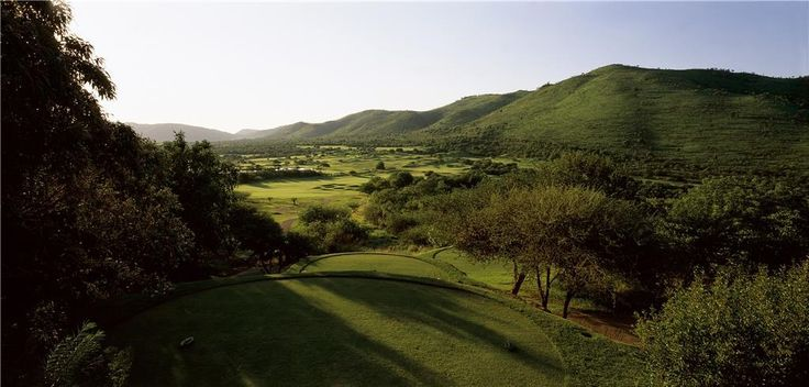 The view of the 11th hole from the 11th tee of the Lost City Golf Course