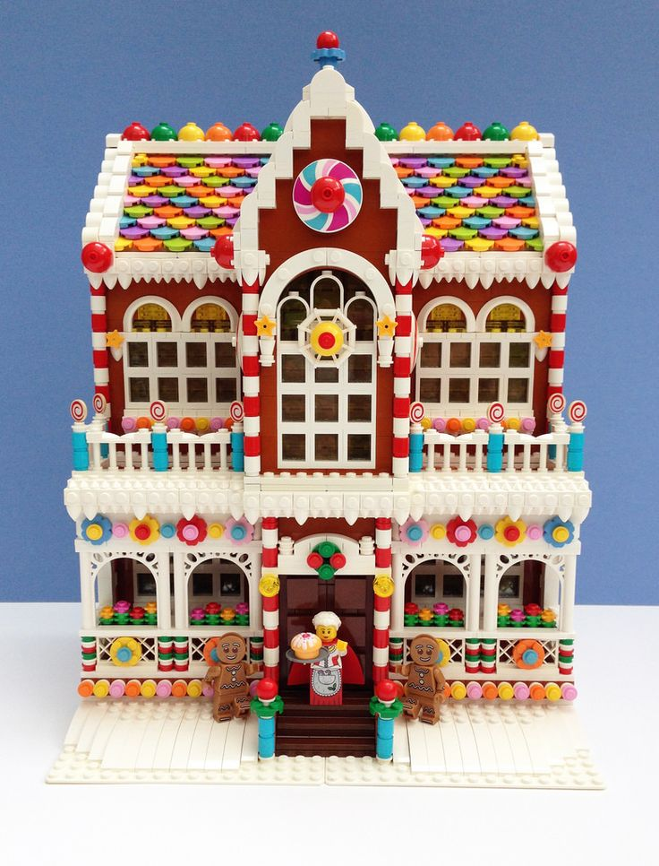 LEGO Gingerbread House! Built in the (sort of) Cafe Corner/Modular Building style. This is full of tasty, candy goodness!