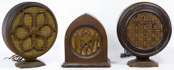 """Lot 367: Atwater Kent Type E-2 Radio Speaker; Serial #257518, attached metal nameplate on the back; together with Atwater Kent Type F-4-A Radio Speaker having serial #1623255; and a Peerless """"Majestic"""" radio speaker #D48514 in a Gothic style wood case"""