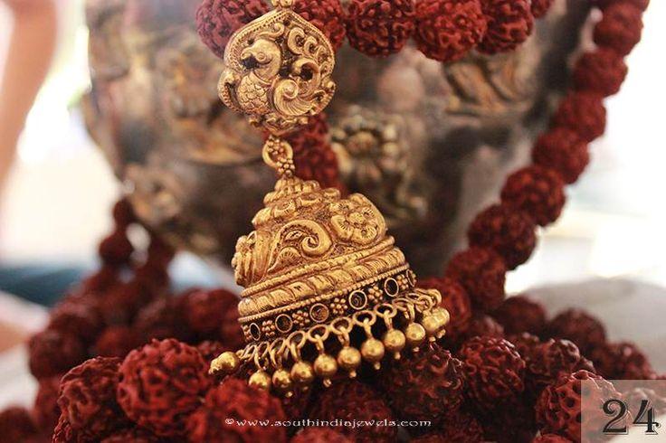 22k gold jhumka designs, Gold Antique Jhumka designs, Gold Jhumka models.